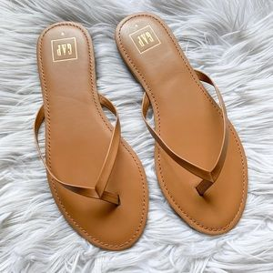 GAP Cognac Genuine Leather Thong Flip Flop Sandals
